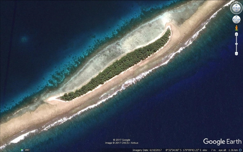 Satellite image of a coral reef island from Google Earth